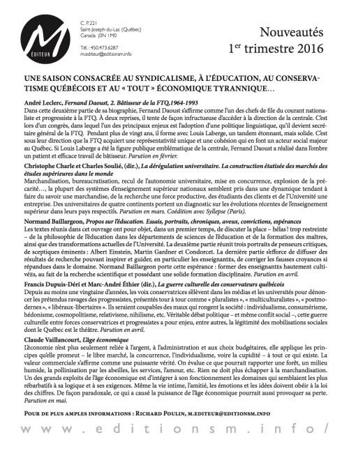 Nouveautés M Éditeur_1er semestre 2016