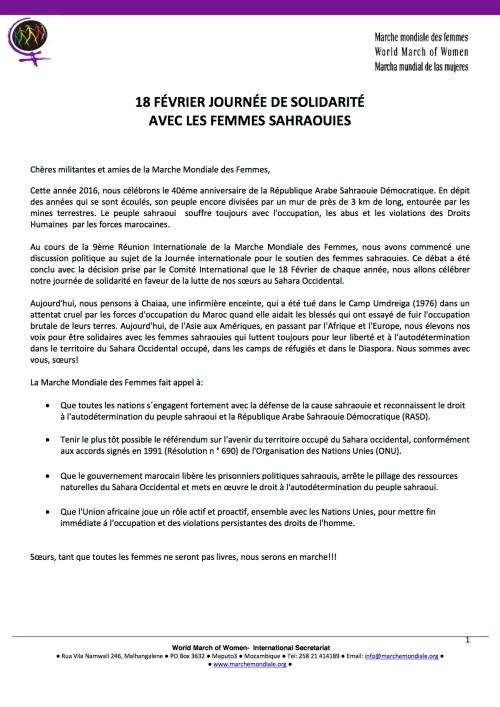 MMF - Solidarité - Femmes Sahraouis-Appel International MMF - Solidarité Peuple S