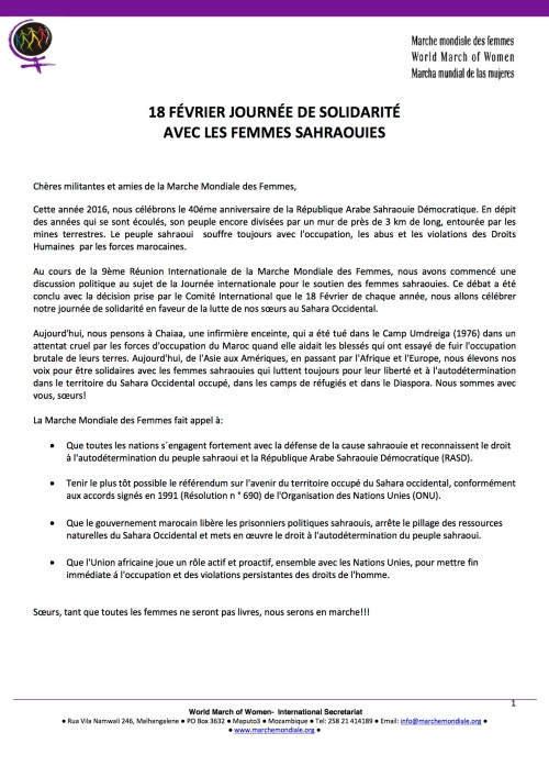 MMF - Solidarité - Femmes Sahraouis-Appel International MMF - Solidarité Peuple S