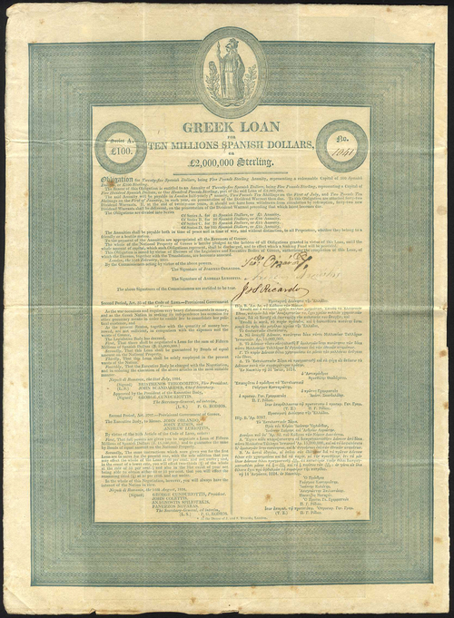 1-Greek_Government_5_Loan_of_1825_bond_for_L100_no-1041_signed_as_contractors_by_J_S_Ricardo_ornate_border_Athena_at_top-d875d