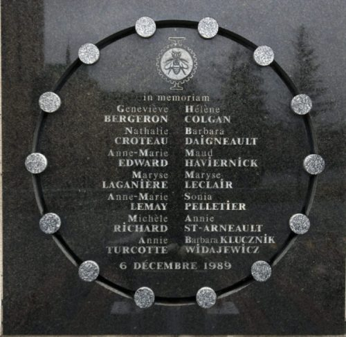 A memorial plaque to the victims adorns a wall of the Ecole Polytechnique on the 22nd anniversary of the Montreal massacre, Tuesday, December 6, 2011 in Montreal. Fourteen female students were gunned down by Marc Lepine who then killed himself on Dec.6, 1989.THE CANADIAN PRESS/Ryan Remiorz
