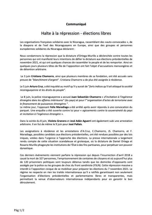 Communiqué commun Nicaragua 10 Juin 2021 A