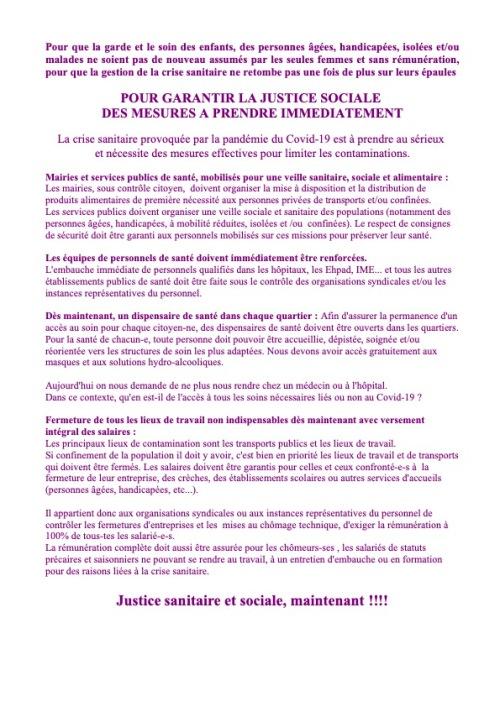 Femmes, Justice sociale et sanitaire, gestion de crise.