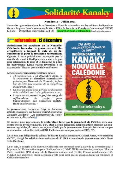 2021 - 7 - 22 - Solidarité Kanaky Bulletin 12