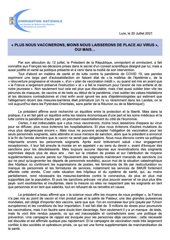 Communiqué de la Coordination Nationale du 20 Juillet 2021 - Plus nous vaccinerons A