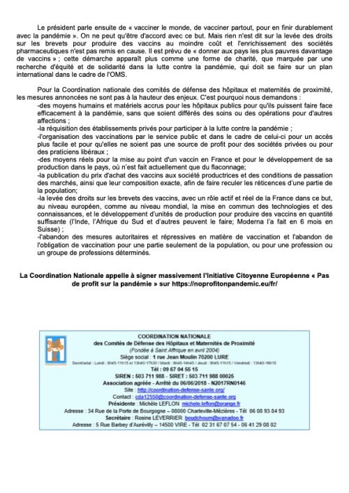 Communiqué de la Coordination Nationale du 20 Juillet 2021 - Plus nous vaccinerons B