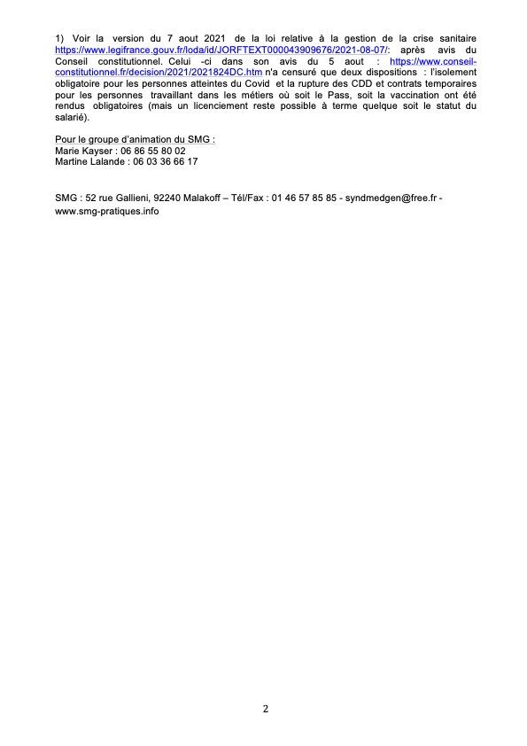 Communiqué du SMG_Refusons de demander le Pass sanitaire_12 aout B 2021